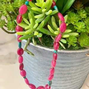 Super cute pink and turquoise bead Necklace